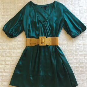French Connection Green Silk Short Sleeve Dress